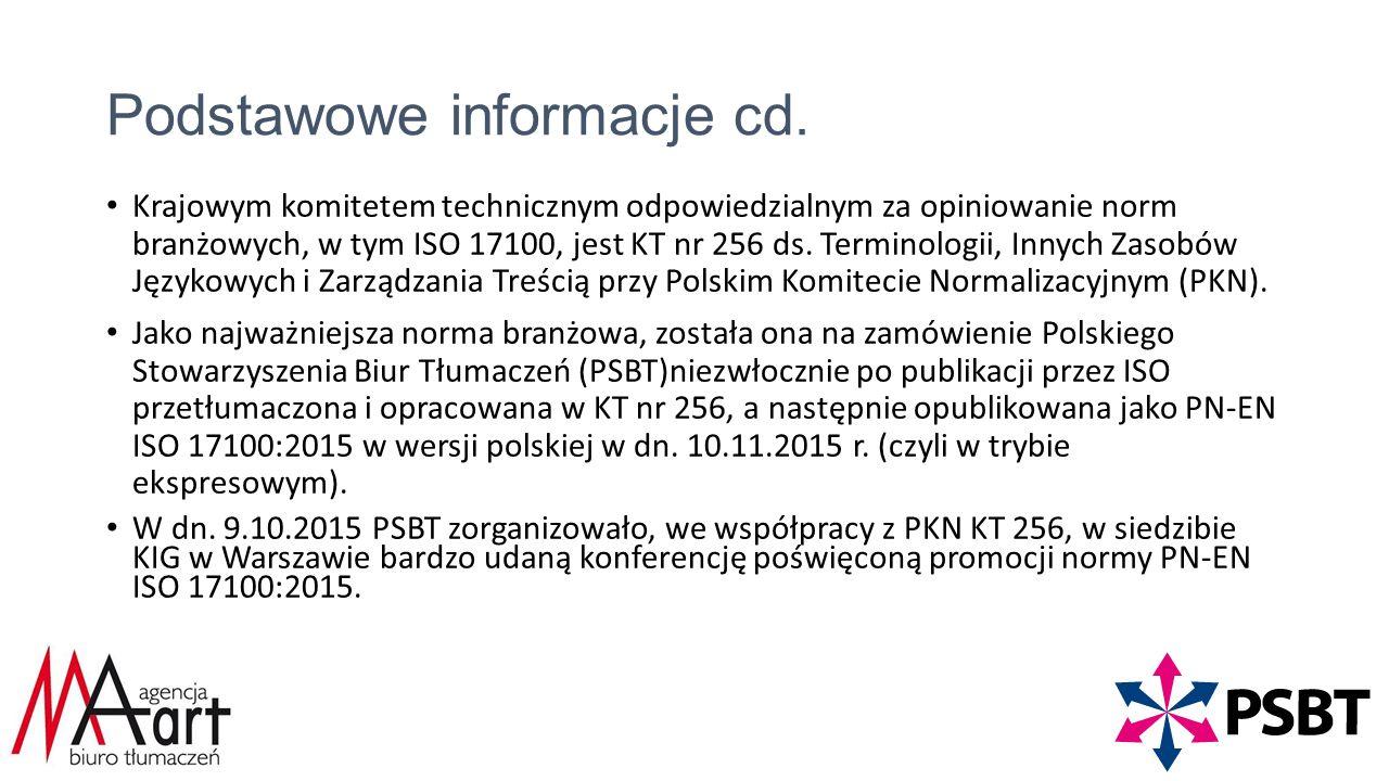 Podstawowe informacje cd.
