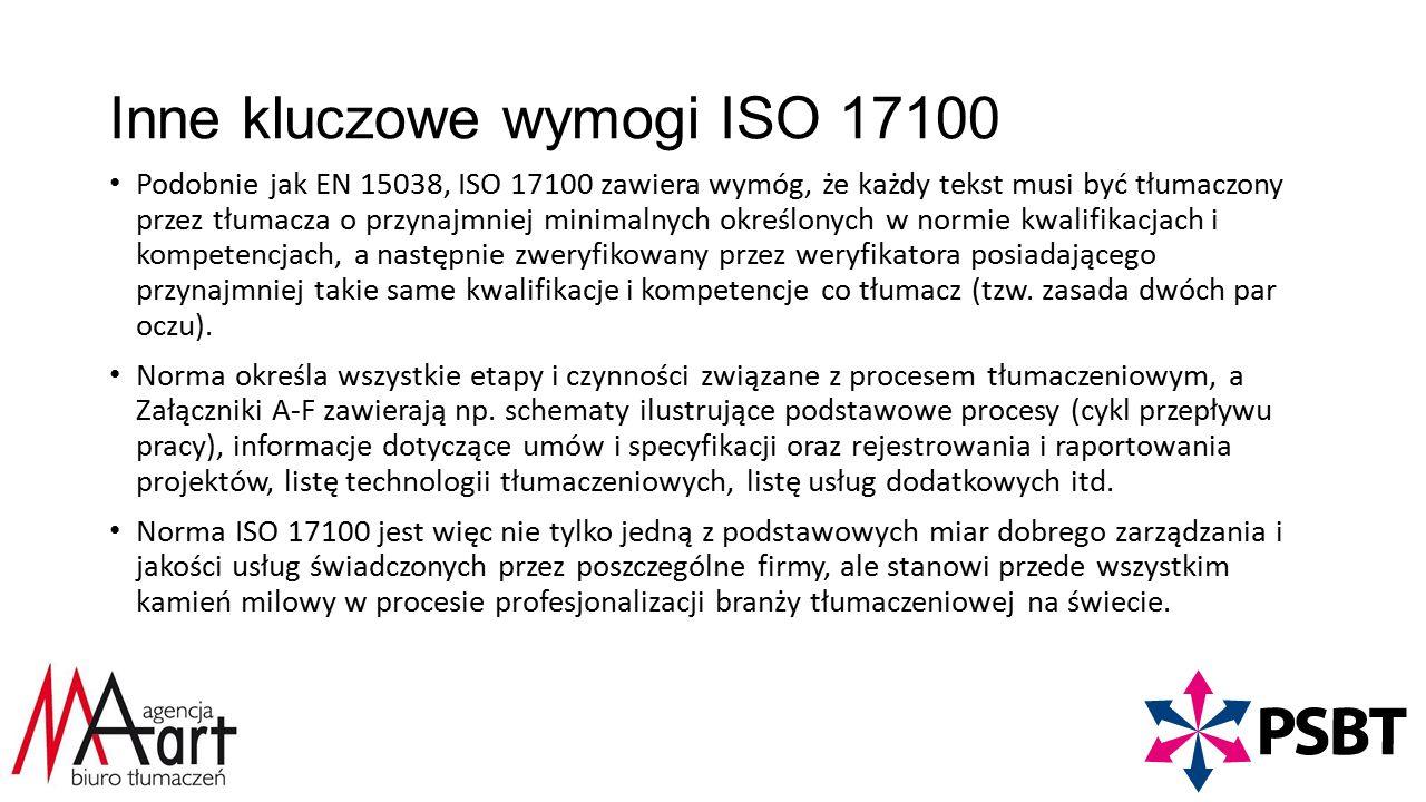 Inne kluczowe wymogi ISO 17100 Podobnie jak EN 15038, ISO 17100 zawiera wymóg, że każdy tekst musi być tłumaczony przez tłumacza o przynajmniej minimalnych określonych w normie kwalifikacjach i kompetencjach, a następnie zweryfikowany przez weryfikatora posiadającego przynajmniej takie same kwalifikacje i kompetencje co tłumacz (tzw.