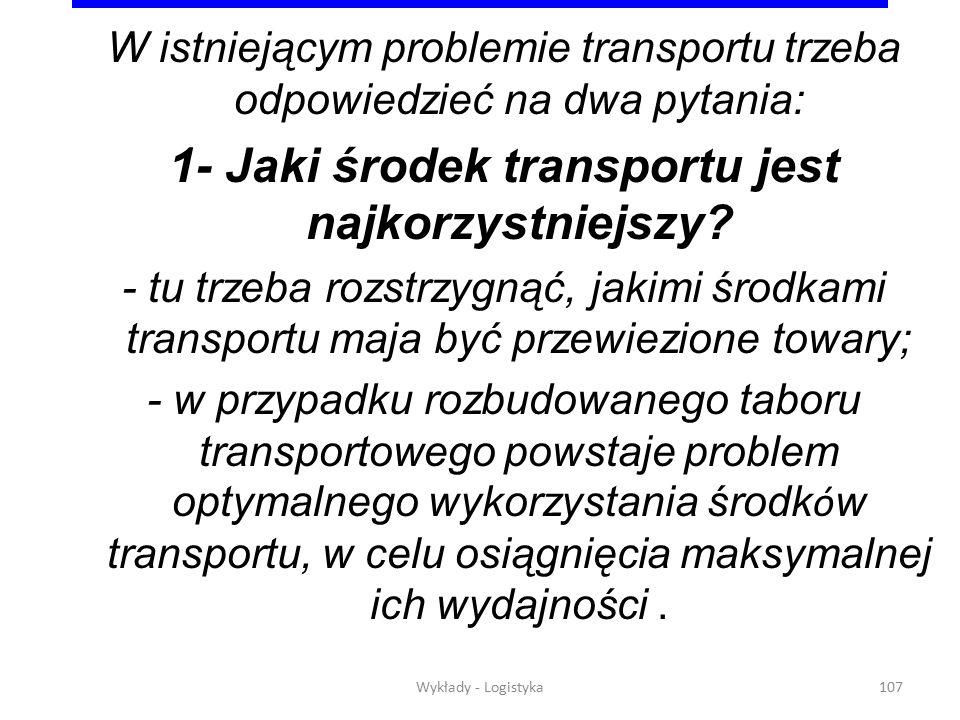 Wykłady - Logistyka106 Bezpośredni i pośredni przepływ towarów Dostawca Magazyn Odbiorca Magazyn Dostawca