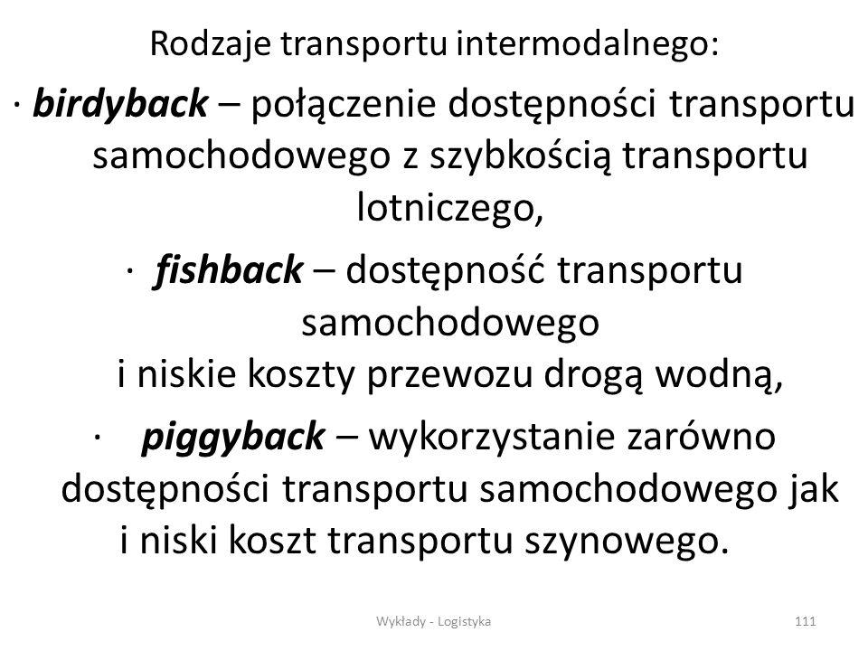 Wykłady - Logistyka110 Transport intermodalny Transport kolejowy Transport kolejowy Transport wodny Transport wodny Transport rurociągowy Transport ru