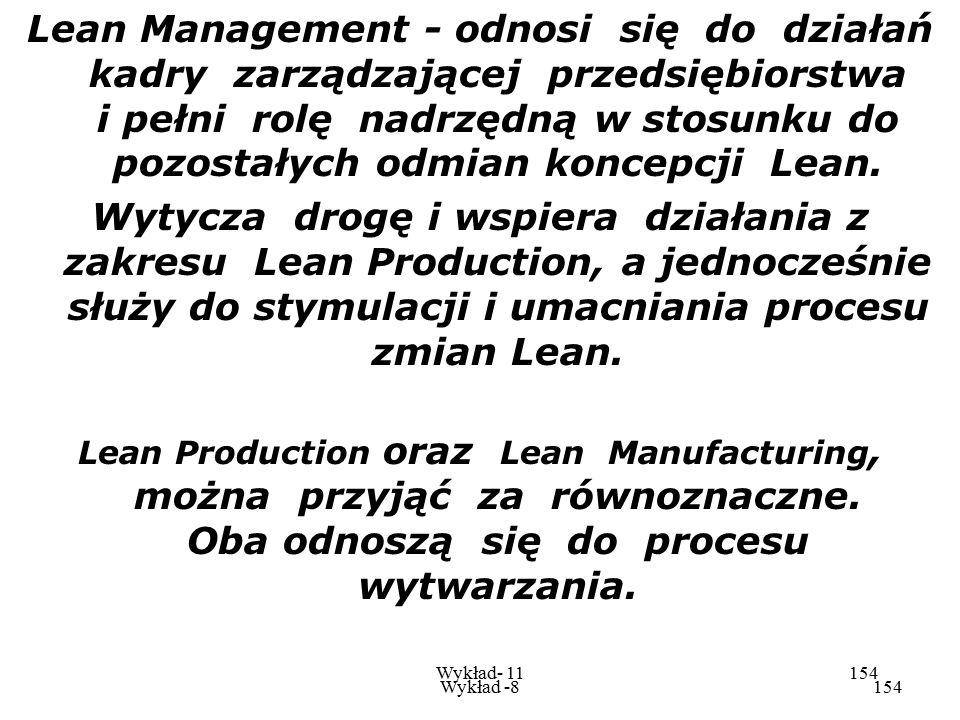 Wykład -8153 Wykład- 11153 a)koncepcja Lean- Lean dotyczy działań wewnątrz i na zewnątrz przedsiębiorstwa zmierzających do jego wyszczuplenia tj. osią