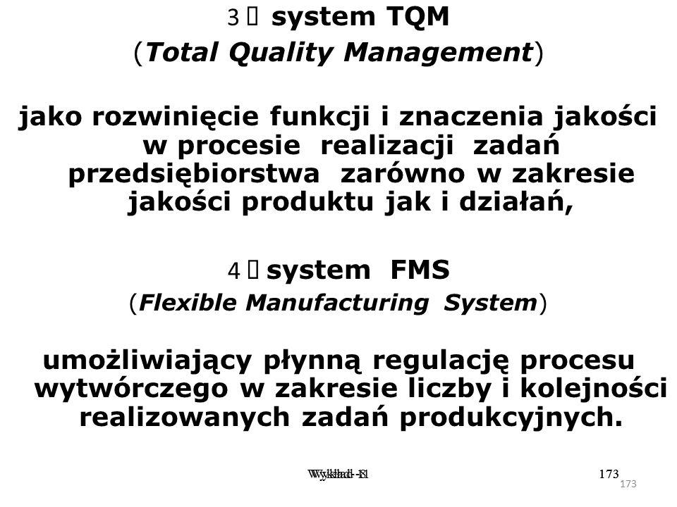 172 Wykład -8172Wykład- 11172 2  system TPM (Total Productivity Manufacturing) zapewniający optymalizację efektywności produkcji poprzez zmiany w jej