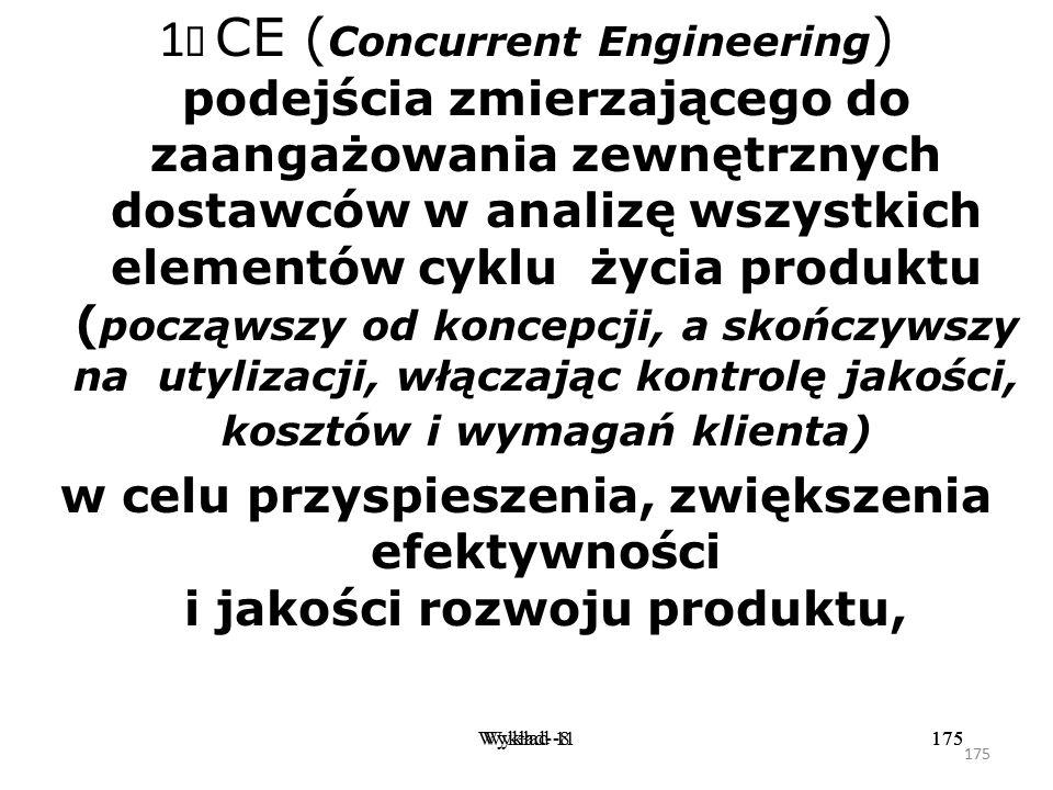 174 Wykład -8174Wykład- 11174 Integracja produktu która ma na celu zespolenie potrzeb reprezentowanych przez klienta z właściwościami wyrobu zależnymi
