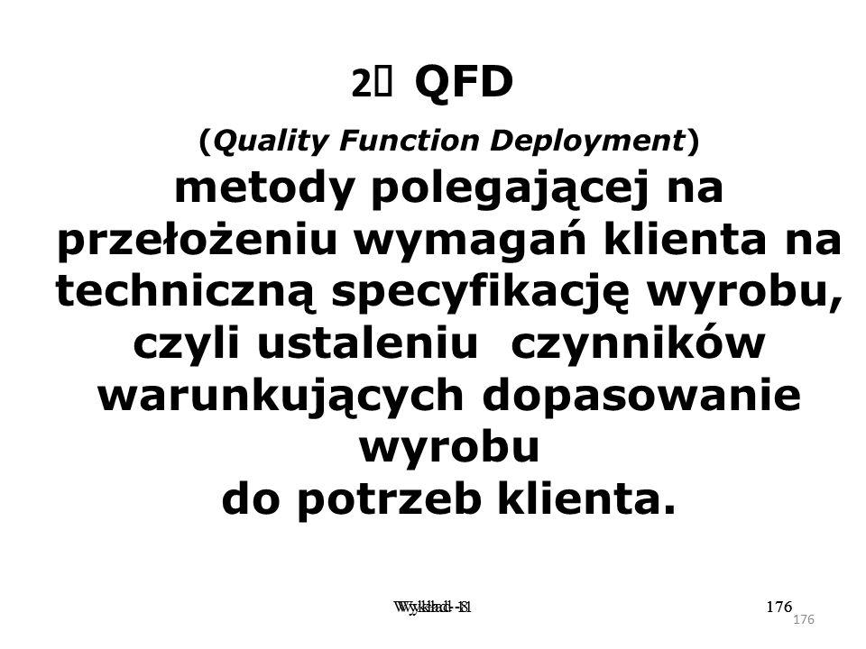 175 Wykład -8175Wykład- 11175 1  CE ( Concurrent Engineering ) podejścia zmierzającego do zaangażowania zewnętrznych dostawców w analizę wszystkich e