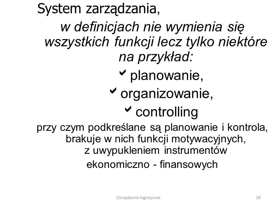 Zarządzanie logistyczne17 Rys.......Przepływ materiałów w przedsiębiorstwie Źródło: Skowronek, 1999 CENTRUM STEROWANIA PRZEPŁYWEM- KIEROWNICTWO Sfera
