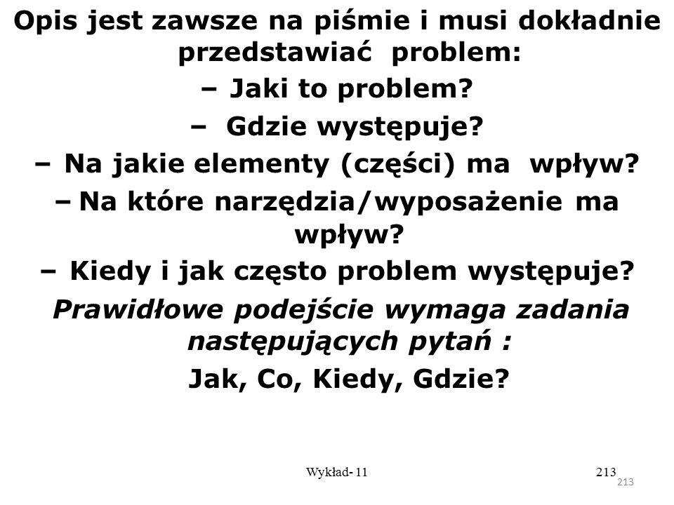 212 Wykład- 11212 Pięć kroków rozwiązywania problemu według filozofii Kaizen Krok 1 – Zespołowe opracowanie problemu Krótki i dokładny opis problemu l
