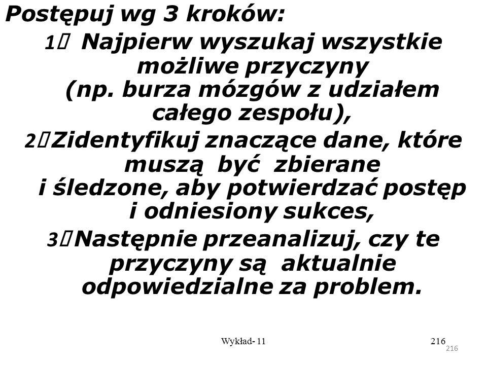 215 Wykład- 11215 Krok 2 - Analiza przyczyn Spis wszystkich możliwych powodów, które przyczyniają się do problemu. Kolekcjonowanie danych, które możem