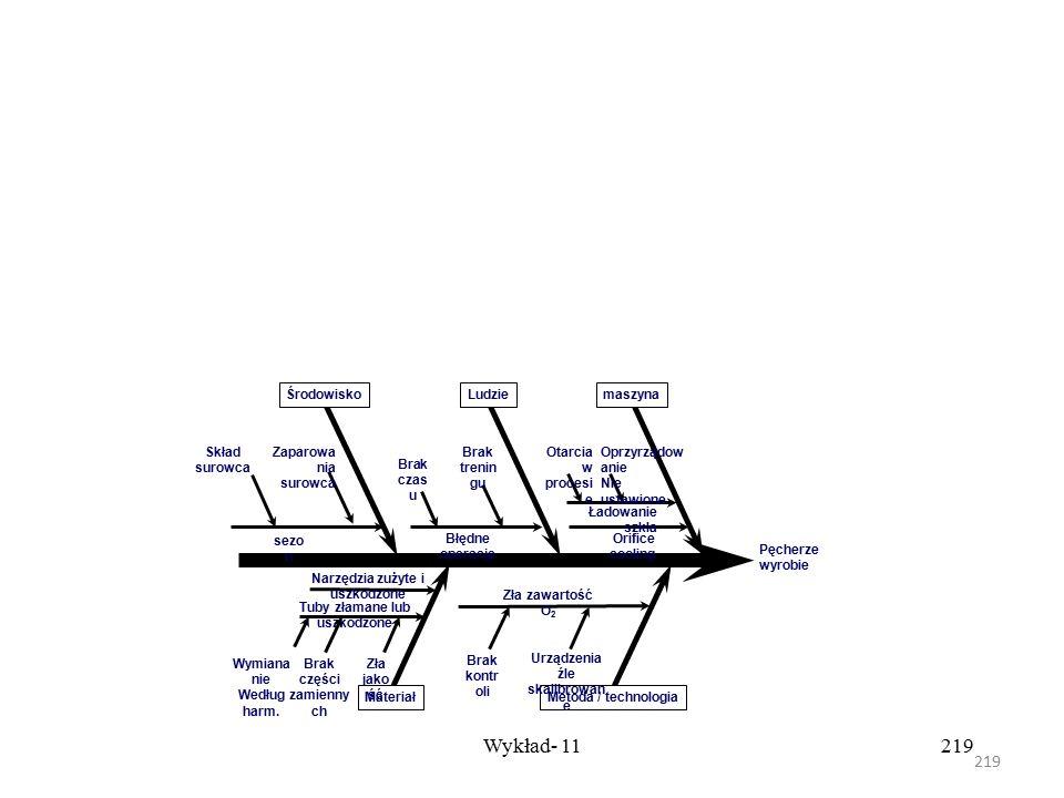 """218 Wykład- 11218 Czasami inne obszary są dodane w zależności od natury problemu. Tworzenie """"szkieletu ryby"""" rozpoczynamy od techniki """"Dlaczego"""" do mo"""