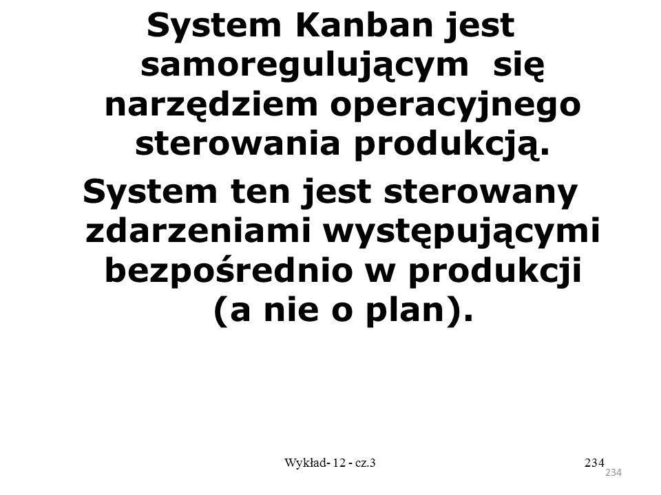 233 Wykład- 12 - cz.3233 W systemie tym zaopatrzenie, produkcja i dystrybucja realizowane są wg zasady JIT; jest to system ssący wykorzystujący dwie p