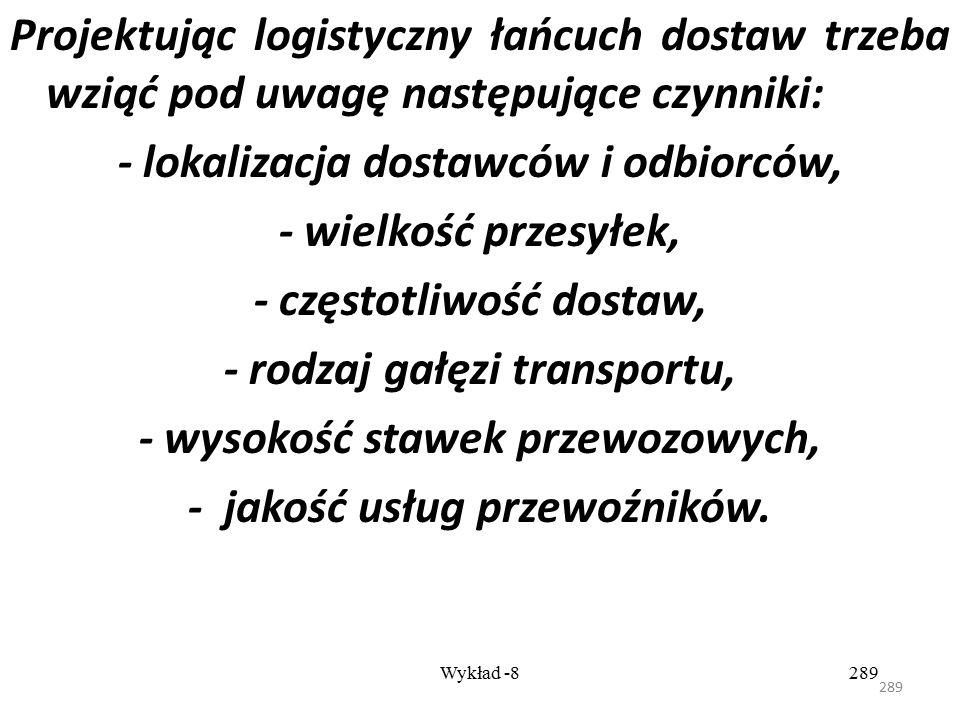 288 Wykład -8288 Rodzaj transportu do obsługi powinien wynikać z: - obliczonych gabarytów dostarczanych surowców; - przyjętej marszruty przejazdu; - c