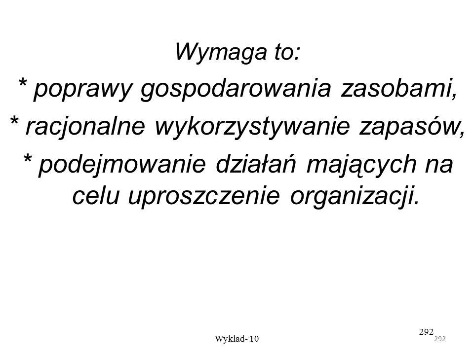 291 Wykład- 10 291 Obszary zadań logistycznych Za strategiczny kierunek działania logistyki uznaje się dążenie do: 1- poprawy wydajności 2- obniżenia
