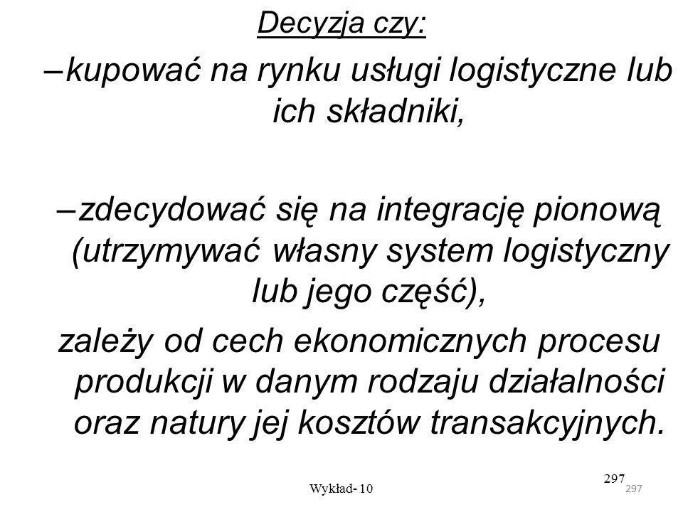 296 Wykład- 10 296 Każde z tych rozwiązań może być przyjęte niezależnie od tego jaką rolę przypisuje firma logistyce w swej strategii konkurencyjnej.