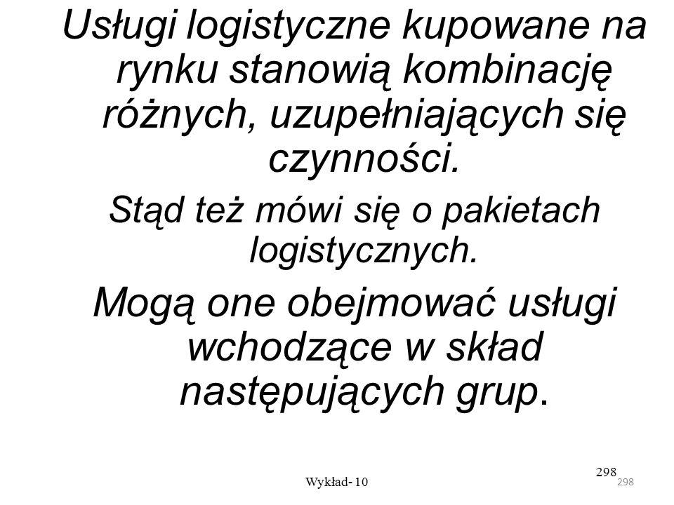 297 Wykład- 10 297 Decyzja czy: –kupować na rynku usługi logistyczne lub ich składniki, –zdecydować się na integrację pionową (utrzymywać własny syste