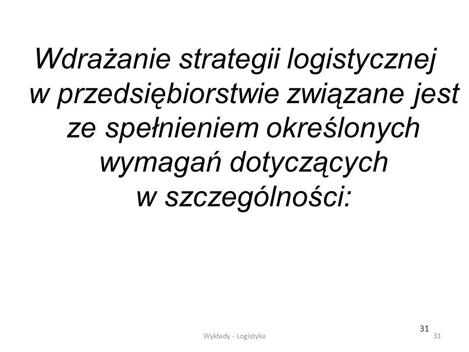 Zarządzanie logistyczne30 Przepływ pieniędzy dotyczy optymalizacji warunków handlu z dostawcami i odbiorcami tak, aby obrót kapitału stał się jak najk