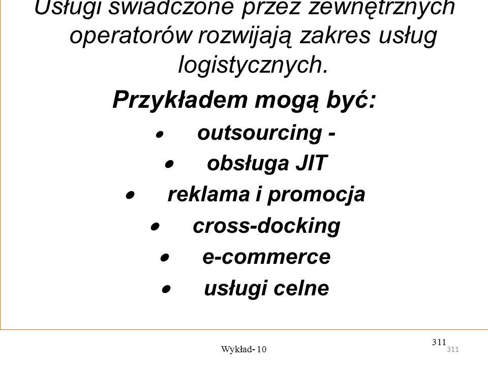 310 Wykład- 10 310 Do najczęściej oferowanych usług logistycznych w należą:  transport;  składowanie wraz z zarządzaniem zapasami;  dystrybucja; 