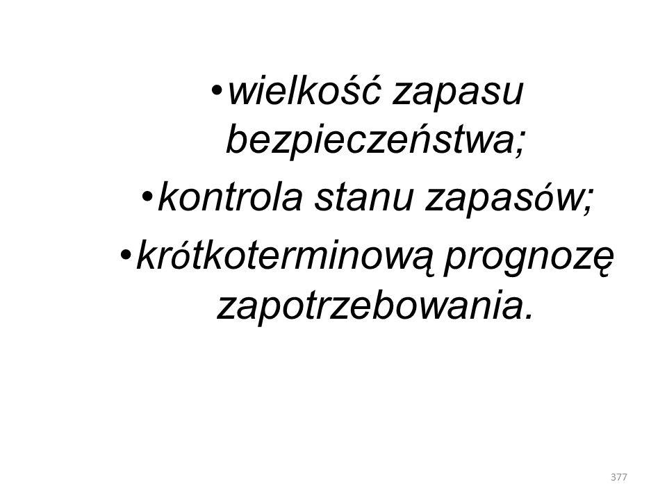 376 Z zasad gospodarki magazynowej wynika, że należy znać: liczbę artykuł ó w kt ó re powinny być składowane; liczba zamawianych artykuł ó w i terminy