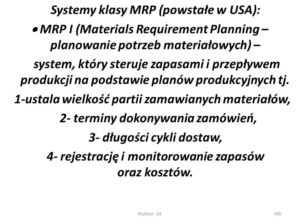 Wykład - 14389 Dla potrzeb logistyki produkcji powstały w krajach rozwiniętych metody (narzędzia logistyczne), umożliwiające skuteczne sterowanie prod