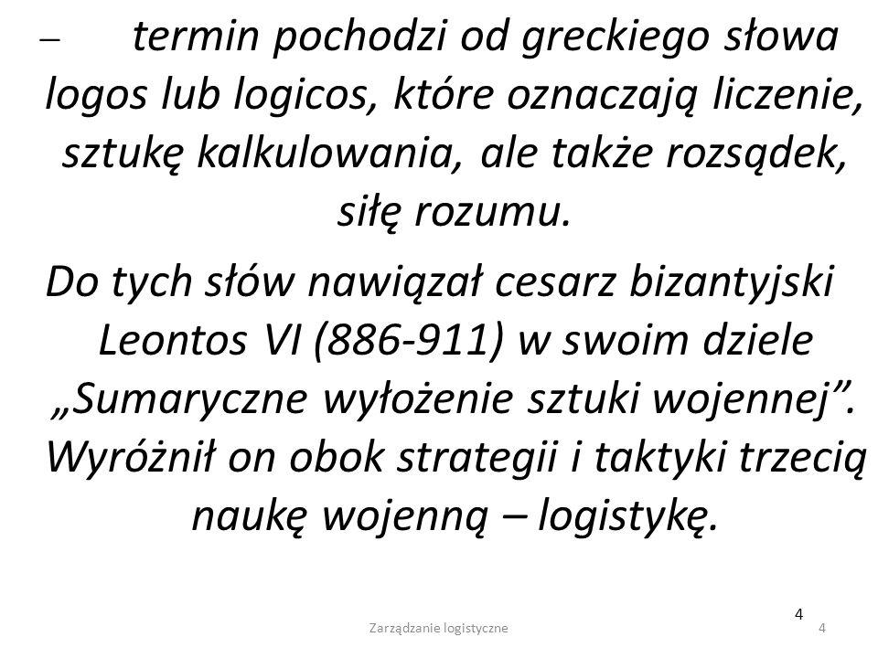 Zarządzanie logistyczne4 4  termin pochodzi od greckiego słowa logos lub logicos, które oznaczają liczenie, sztukę kalkulowania, ale także rozsądek, siłę rozumu.