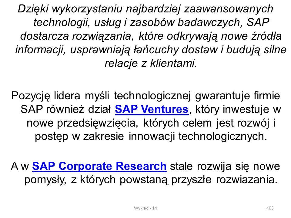 Wykład - 14402 Firma SAP Polska Sp. z o.o. rozpoczęła działalność we wrześniu 1995 roku. Obecnie zatrudnia blisko 150 pracowników w siedzibie w Warsza