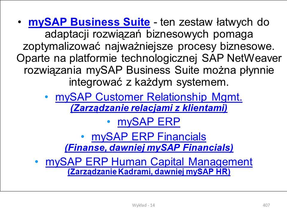 Wykład - 14406 III. Rozwiązania SAP Rozwiązania SAP zapewniają klarowny i aktualny wgląd we wszystkie procesy przebiegające w firmie. Dzięki temu pozw