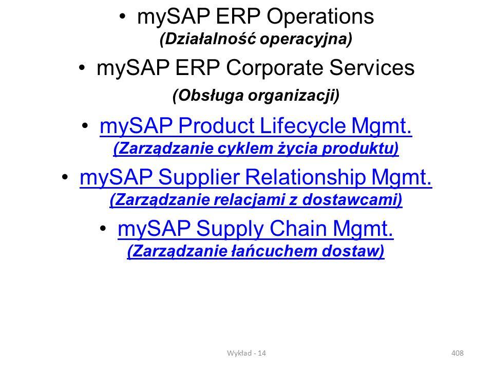 Wykład - 14407 mySAP Business Suite - ten zestaw łatwych do adaptacji rozwiązań biznesowych pomaga zoptymalizować najważniejsze procesy biznesowe. Opa