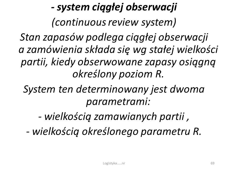 Logistyka.....nr68  system okresowy (periodic review system) – przegląd poziomu zapasów dokonywany jest w równych odstępach czasu, i po każdym przegl