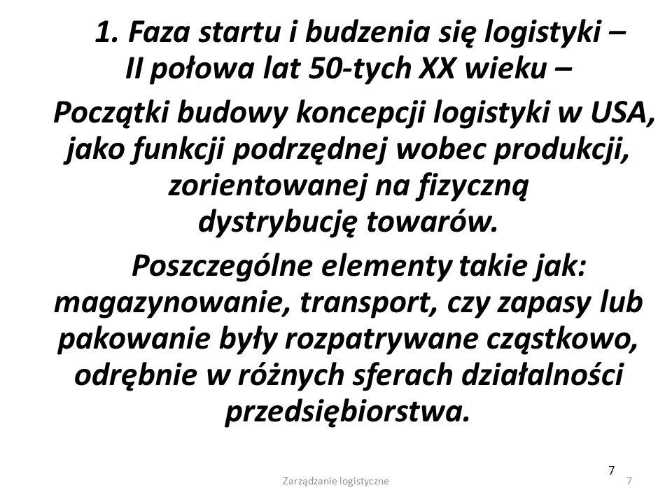 Wykłady - Logistyka57 Logistykę zaopatrzenia można zdefiniować jako logistyczny system celowy, który: - bazuje na zintegrowanej koncepcji pozyskiwania potrzebnych materiałów: we właściwej ilości i asortymencie, o właściwej jakości i cenie, we właściwym miejscu i czasie dla zagwarantowania możliwości realizacji celów przedsiębiorstwa, - działa w szerokim obszarze: od rynku dostawców do rynku zbytu.