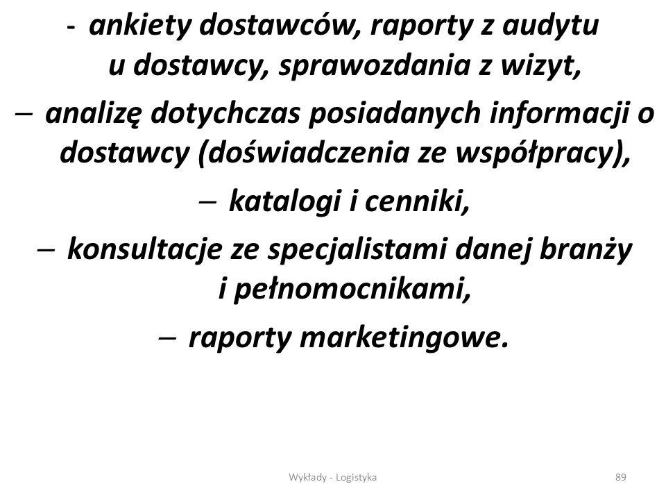 Wykłady - Logistyka88 Informacje dotyczące kryteriów oceny uzyskiwane są poprzez:  dokumentacje projektową i wytyczne know-how,  zgłoszenia wniosków