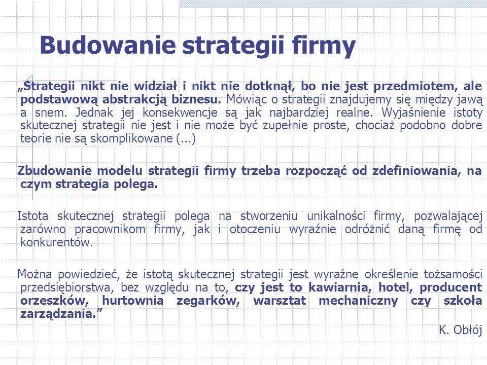 """Budowanie strategii firmy """"Strategii nikt nie widział i nikt nie dotknął, bo nie jest przedmiotem, ale podstawową abstrakcją biznesu. Mówiąc o strateg"""