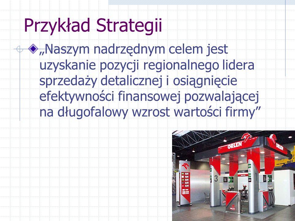 """Przykład Strategii """"Naszym nadrzędnym celem jest uzyskanie pozycji regionalnego lidera sprzedaży detalicznej i osiągnięcie efektywności finansowej poz"""