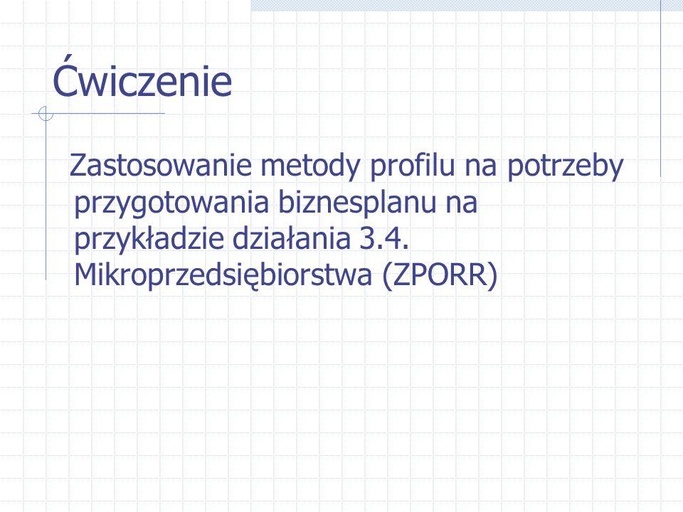 Ćwiczenie Zastosowanie metody profilu na potrzeby przygotowania biznesplanu na przykładzie działania 3.4. Mikroprzedsiębiorstwa (ZPORR)