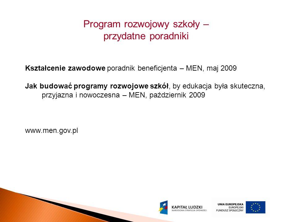 Program rozwojowy szkoły – przydatne poradniki Kształcenie zawodowe poradnik beneficjenta – MEN, maj 2009 Jak budować programy rozwojowe szkół, by edukacja była skuteczna, przyjazna i nowoczesna – MEN, październik 2009 www.men.gov.pl