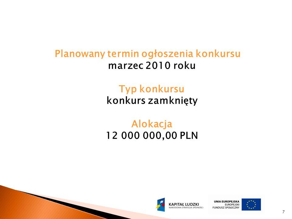 Planowany termin ogłoszenia konkursu marzec 2010 roku Typ konkursu konkurs zamknięty Alokacja 12 000 000,00 PLN 7