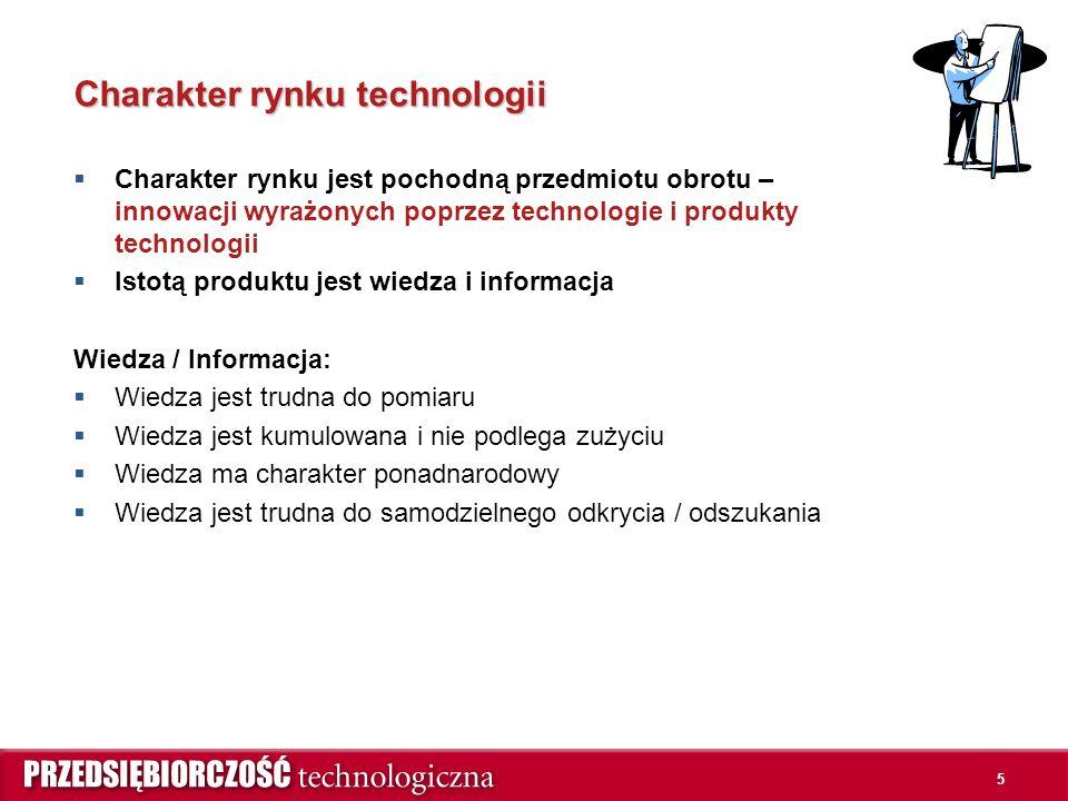 5 Charakter rynku technologii  Charakter rynku jest pochodną przedmiotu obrotu – innowacji wyrażonych poprzez technologie i produkty technologii  Istotą produktu jest wiedza i informacja Wiedza / Informacja:  Wiedza jest trudna do pomiaru  Wiedza jest kumulowana i nie podlega zużyciu  Wiedza ma charakter ponadnarodowy  Wiedza jest trudna do samodzielnego odkrycia / odszukania