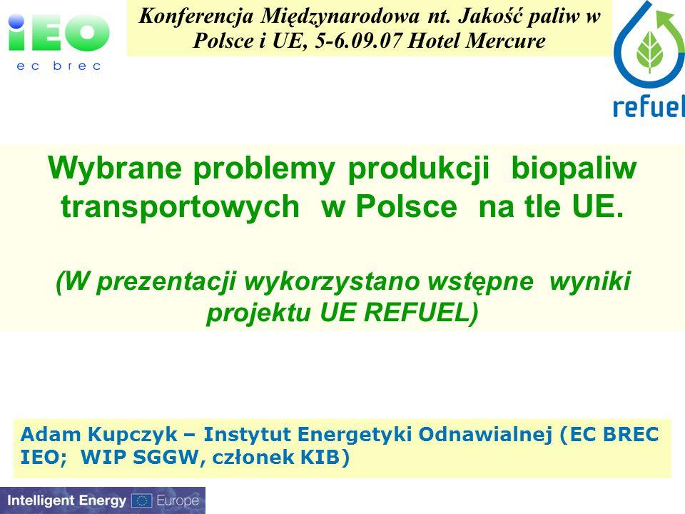 Adam Kupczyk – Instytut Energetyki Odnawialnej (EC BREC IEO; WIP SGGW, członek KIB) Konferencja Międzynarodowa nt.