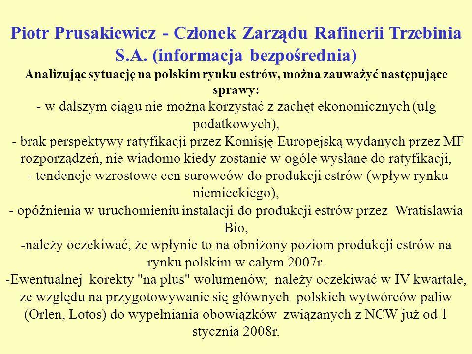 Piotr Prusakiewicz - Członek Zarządu Rafinerii Trzebinia S.A.