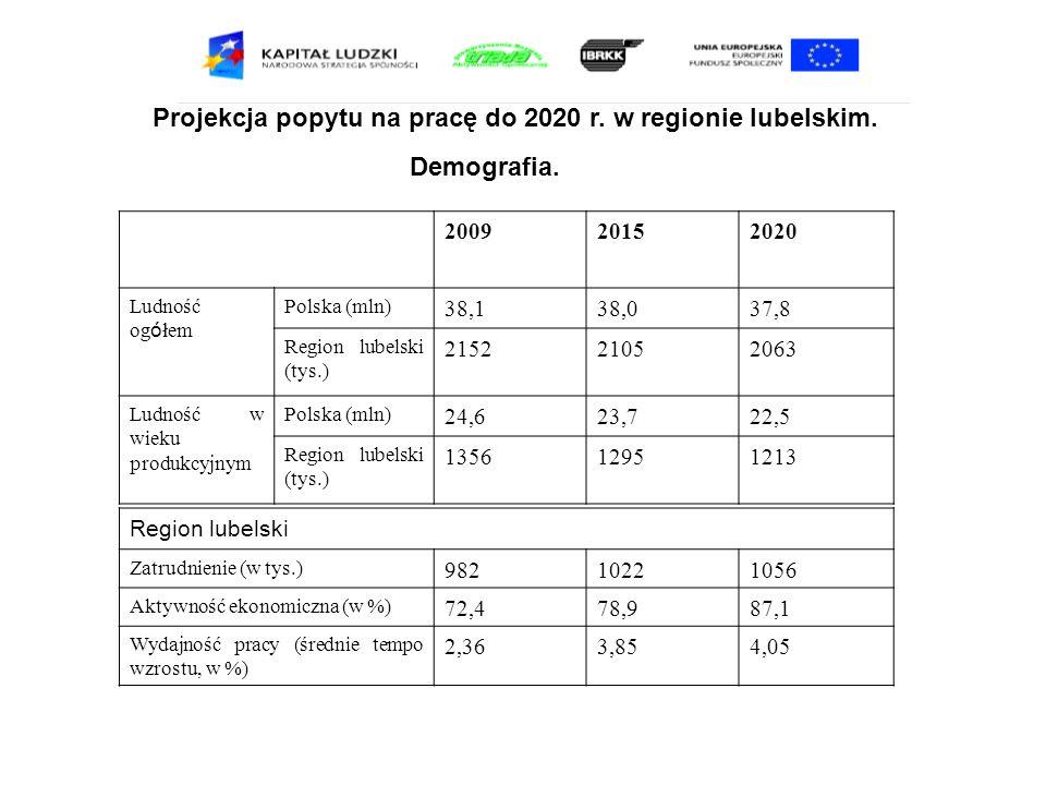 Projekcja popytu na pracę do 2020 r. w regionie lubelskim. 200920152020 Ludność og ó łem Polska (mln) 38,138,037,8 Region lubelski (tys.) 215221052063