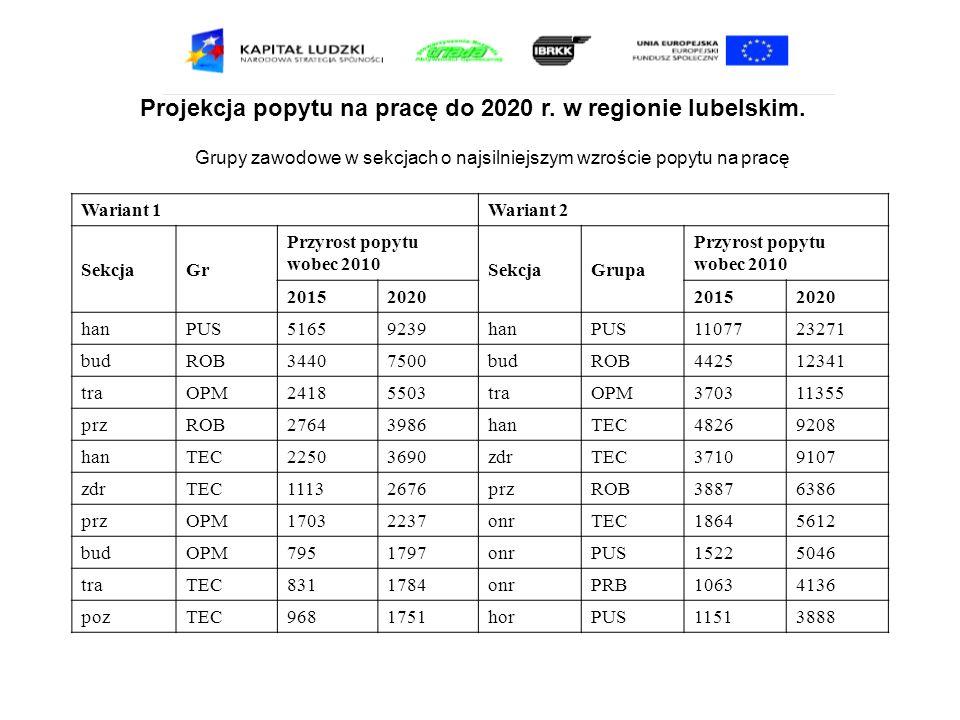 Projekcja popytu na pracę do 2020 r. w regionie lubelskim. Grupy zawodowe w sekcjach o najsilniejszym wzroście popytu na pracę Wariant 1Wariant 2 Sekc