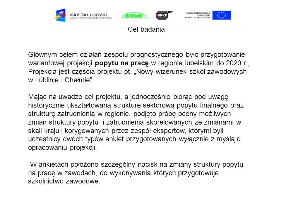Cel badania Głównym celem działań zespołu prognostycznego było przygotowanie wariantowej projekcji popytu na pracę w regionie lubelskim do 2020 r., Pr