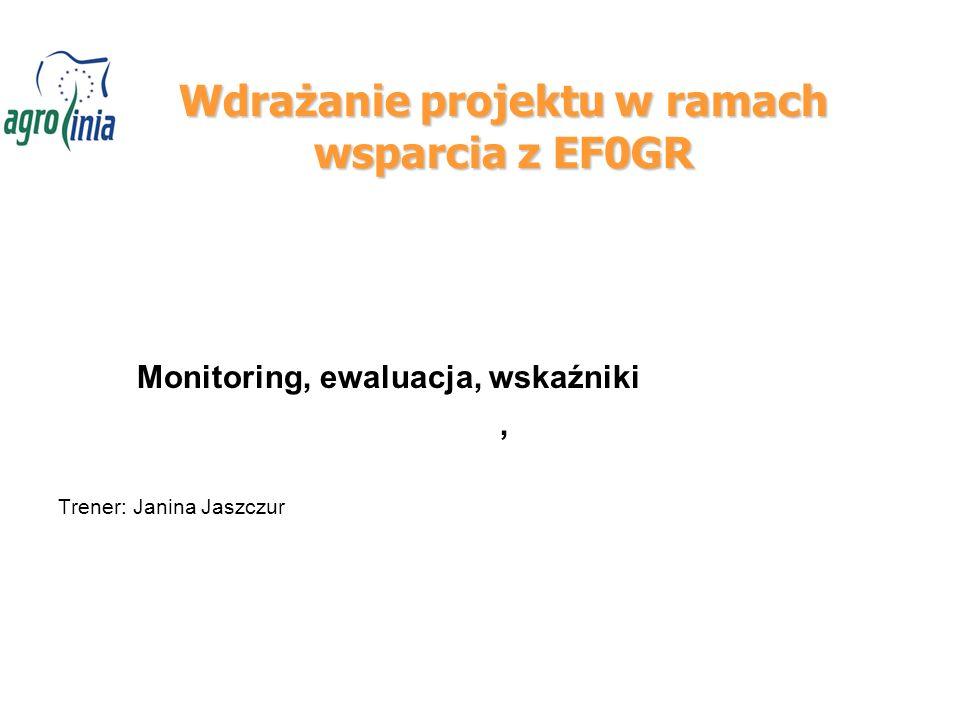 Wdrażanie projektu w ramach wsparcia z EF0GR Monitoring, ewaluacja, wskaźniki, Trener: Janina Jaszczur