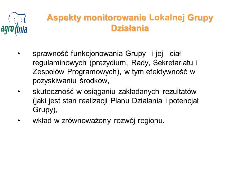 Aspekty monitorowanieGrupy Działania Aspekty monitorowanie Lokalnej Grupy Działania sprawność funkcjonowania Grupy i jej ciał regulaminowych (prezydiu