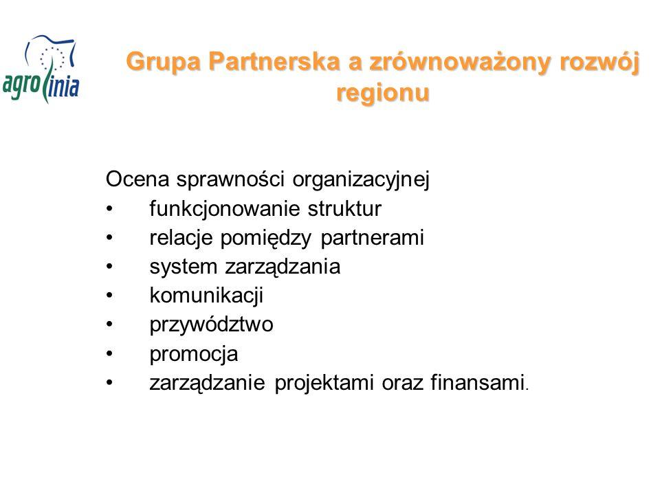Grupa Partnerska a zrównoważony rozwój regionu Ocena sprawności organizacyjnej funkcjonowanie struktur relacje pomiędzy partnerami system zarządzania komunikacji przywództwo promocja zarządzanie projektami oraz finansami.