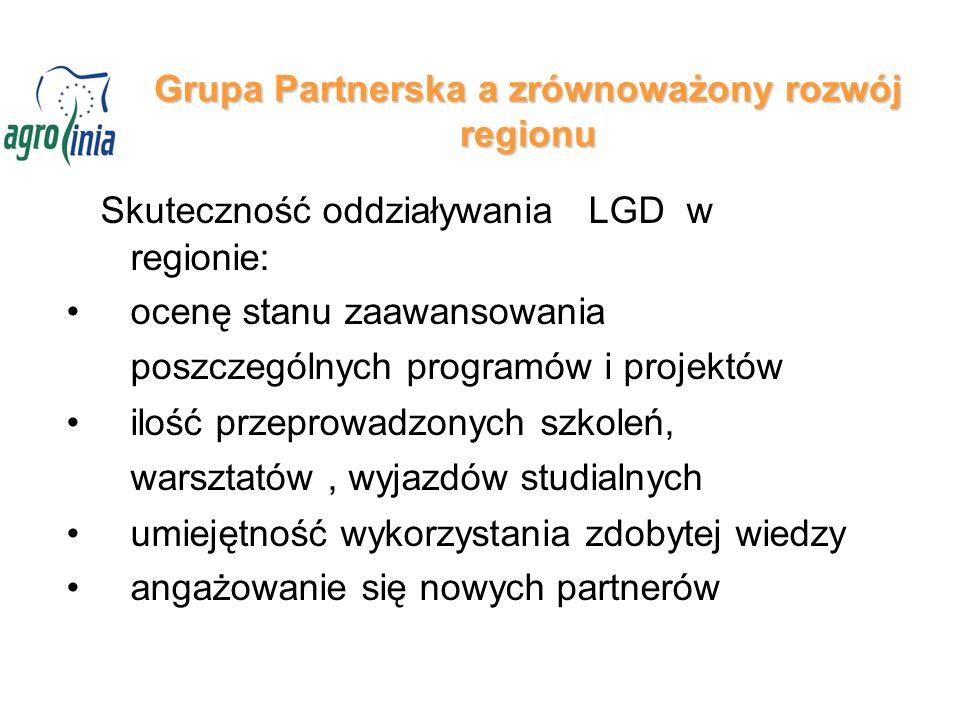 Grupa Partnerska a zrównoważony rozwój regionu Skuteczność oddziaływania LGD w regionie: ocenę stanu zaawansowania poszczególnych programów i projektów ilość przeprowadzonych szkoleń, warsztatów, wyjazdów studialnych umiejętność wykorzystania zdobytej wiedzy angażowanie się nowych partnerów