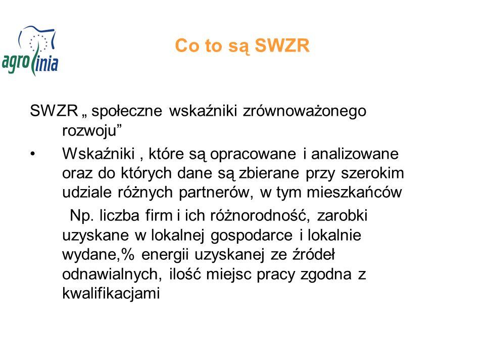 """Co to są SWZR SWZR """" społeczne wskaźniki zrównoważonego rozwoju Wskaźniki, które są opracowane i analizowane oraz do których dane są zbierane przy szerokim udziale różnych partnerów, w tym mieszkańców Np."""