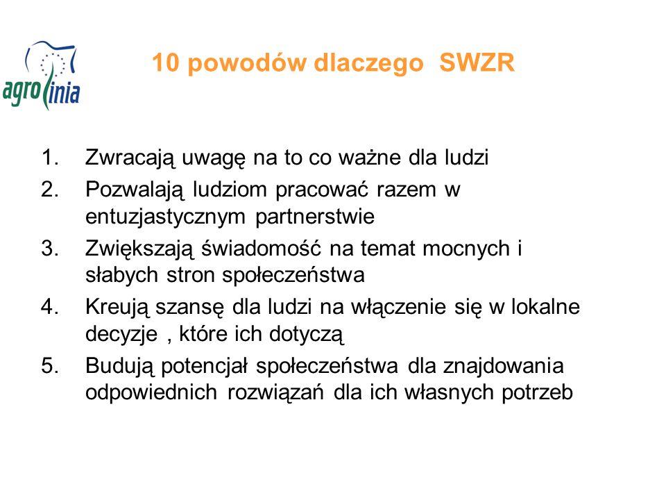 10 powodów dlaczego SWZR 1.Zwracają uwagę na to co ważne dla ludzi 2.Pozwalają ludziom pracować razem w entuzjastycznym partnerstwie 3.Zwiększają świa