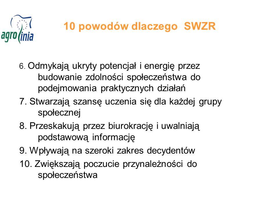 10 powodów dlaczego SWZR 6. Odmykają ukryty potencjał i energię przez budowanie zdolności społeczeństwa do podejmowania praktycznych działań 7. Stwarz