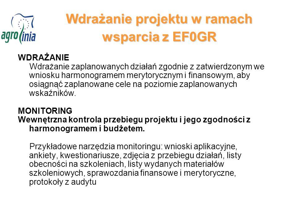 Wdrażanie projektu w ramach wsparcia z EF0GR WDRAŻANIE Wdrażanie zaplanowanych działań zgodnie z zatwierdzonym we wniosku harmonogramem merytorycznym