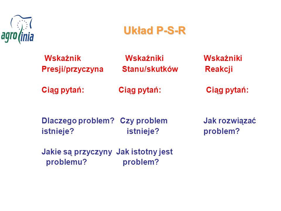 Układ P-S-R Wskaźnik Wskaźniki Wskaźniki Presji/przyczyna Stanu/skutków Reakcji Ciąg pytań: Ciąg pytań: Ciąg pytań: Dlaczego problem? Czy problem Jak
