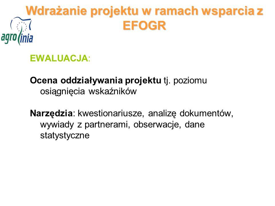 Wdrażanie projektu w ramach wsparcia z EFOGR EWALUACJA: Ocena oddziaływania projektu tj.