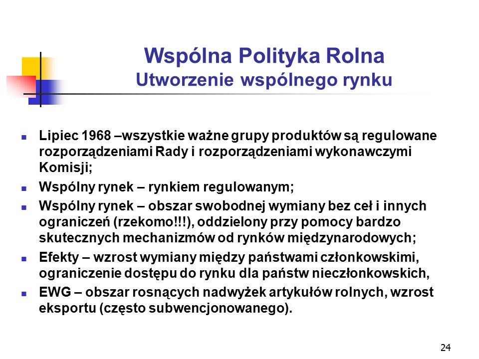 24 Wspólna Polityka Rolna Utworzenie wspólnego rynku Lipiec 1968 –wszystkie ważne grupy produktów są regulowane rozporządzeniami Rady i rozporządzeniami wykonawczymi Komisji; Wspólny rynek – rynkiem regulowanym; Wspólny rynek – obszar swobodnej wymiany bez ceł i innych ograniczeń (rzekomo!!!), oddzielony przy pomocy bardzo skutecznych mechanizmów od rynków międzynarodowych; Efekty – wzrost wymiany między państwami członkowskimi, ograniczenie dostępu do rynku dla państw nieczłonkowskich, EWG – obszar rosnących nadwyżek artykułów rolnych, wzrost eksportu (często subwencjonowanego).